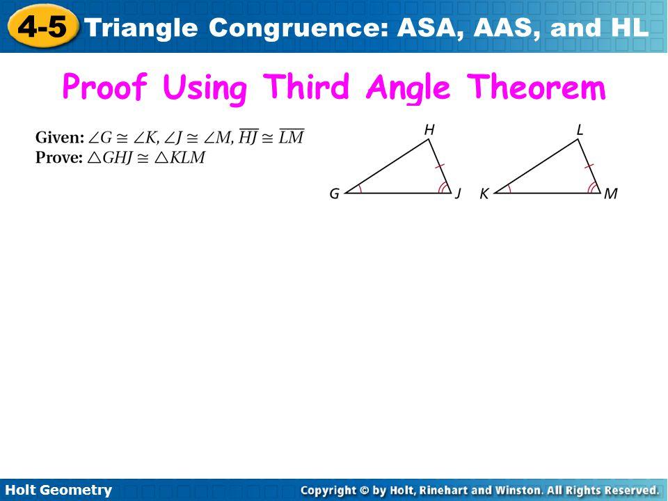Proof Using Third Angle Theorem