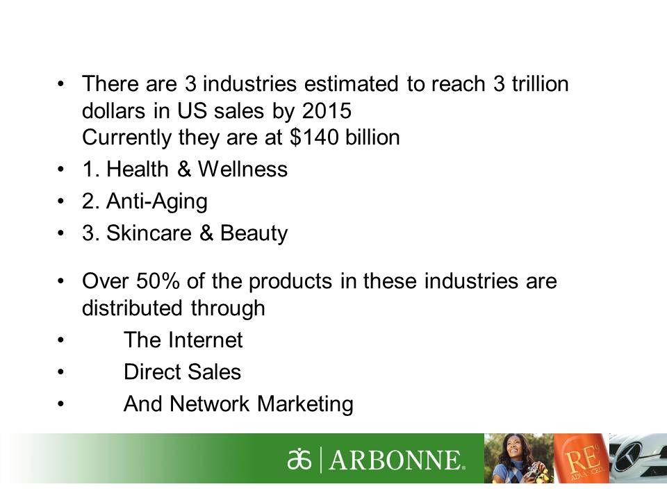There are 3 industries estimated to reach 3 trillion dollars in US sales by 2015 Currently they are at $140 billion
