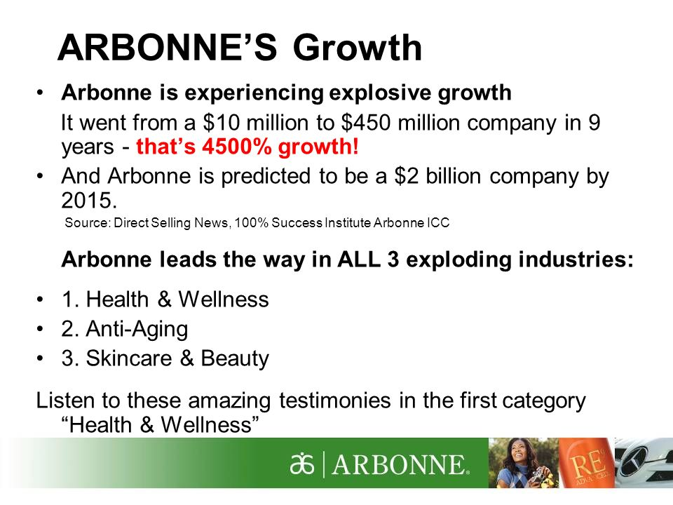 ARBONNE'S Growth Arbonne is experiencing explosive growth