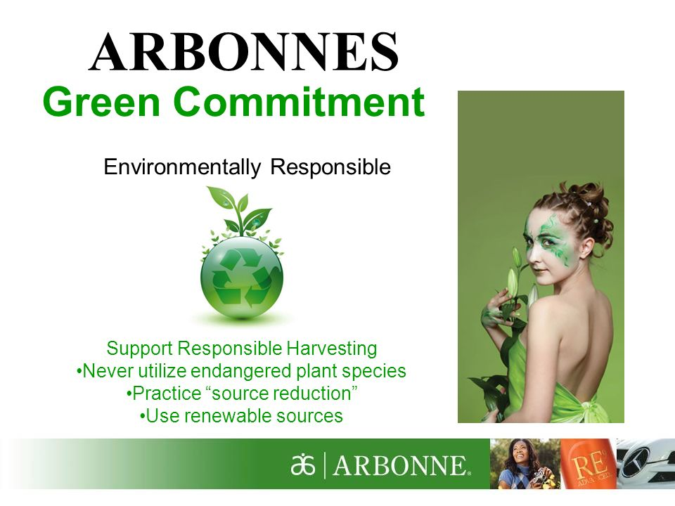 ARBONNES Green Commitment Environmentally Responsible