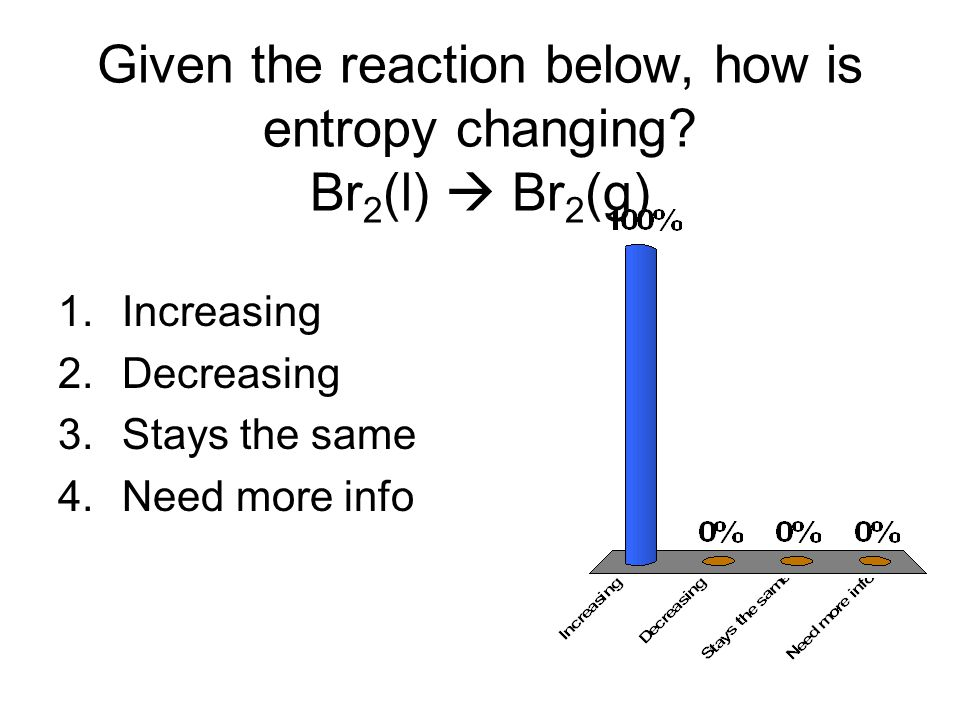 Given the reaction below, how is entropy changing Br2(l)  Br2(g)