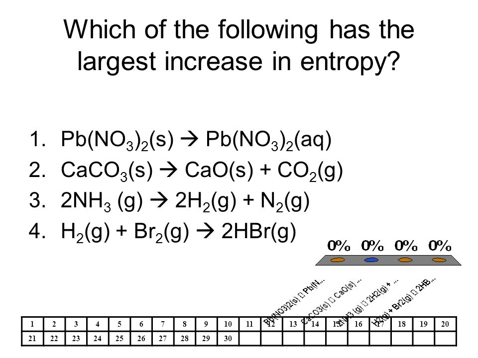 Which of the following has the largest increase in entropy