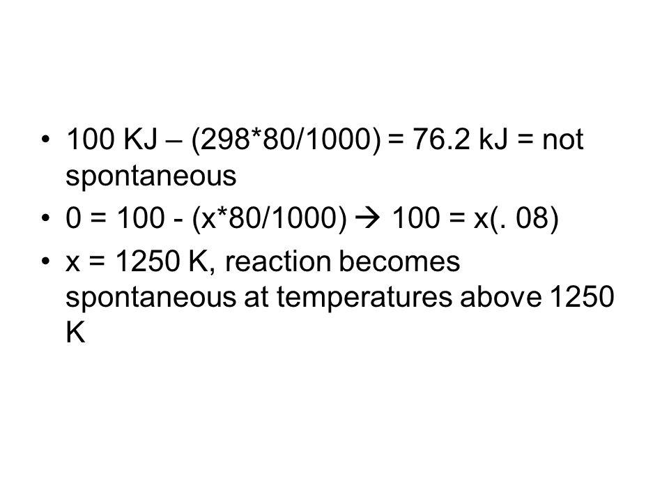 100 KJ – (298*80/1000) = 76.2 kJ = not spontaneous