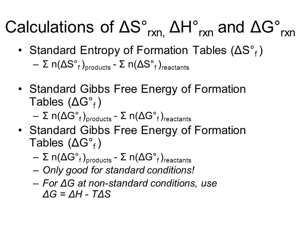 Calculations of ΔS°rxn, ΔH°rxn and ΔG°rxn