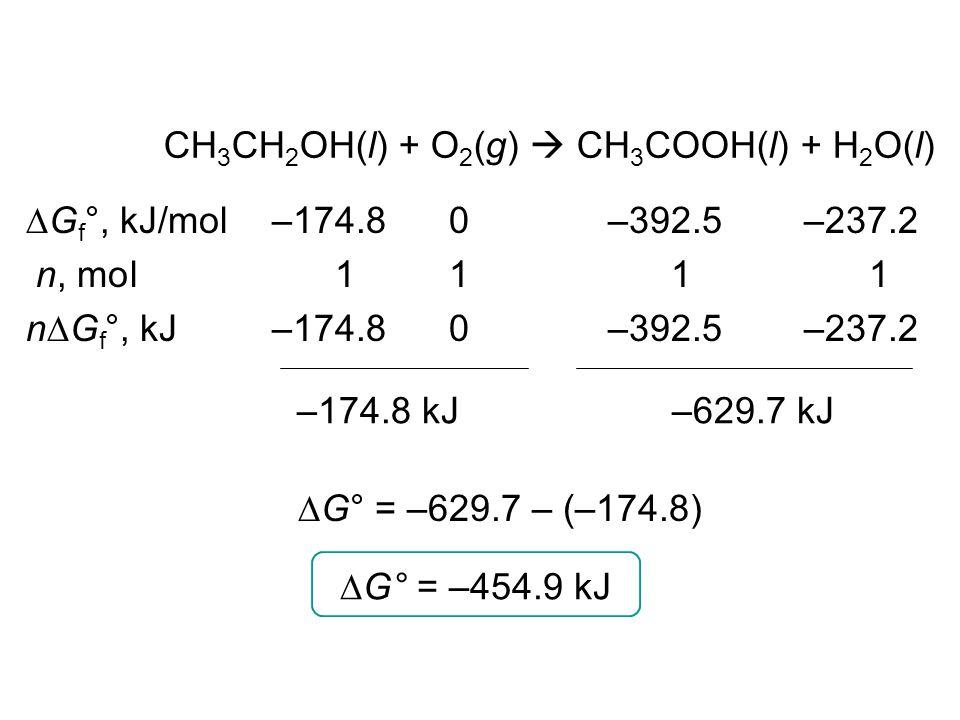 CH3CH2OH(l) + O2(g)  CH3COOH(l) + H2O(l)