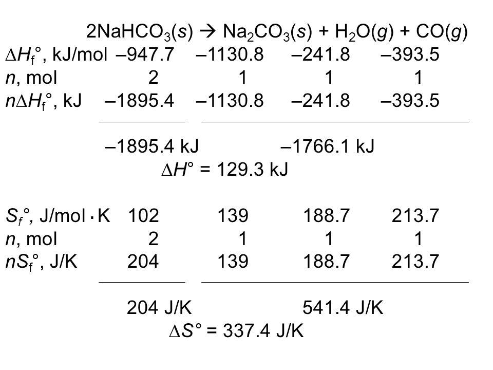 2NaHCO3(s)  Na2CO3(s) + H2O(g) + CO(g)