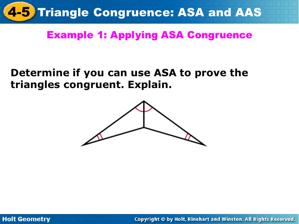 Example 1: Applying ASA Congruence