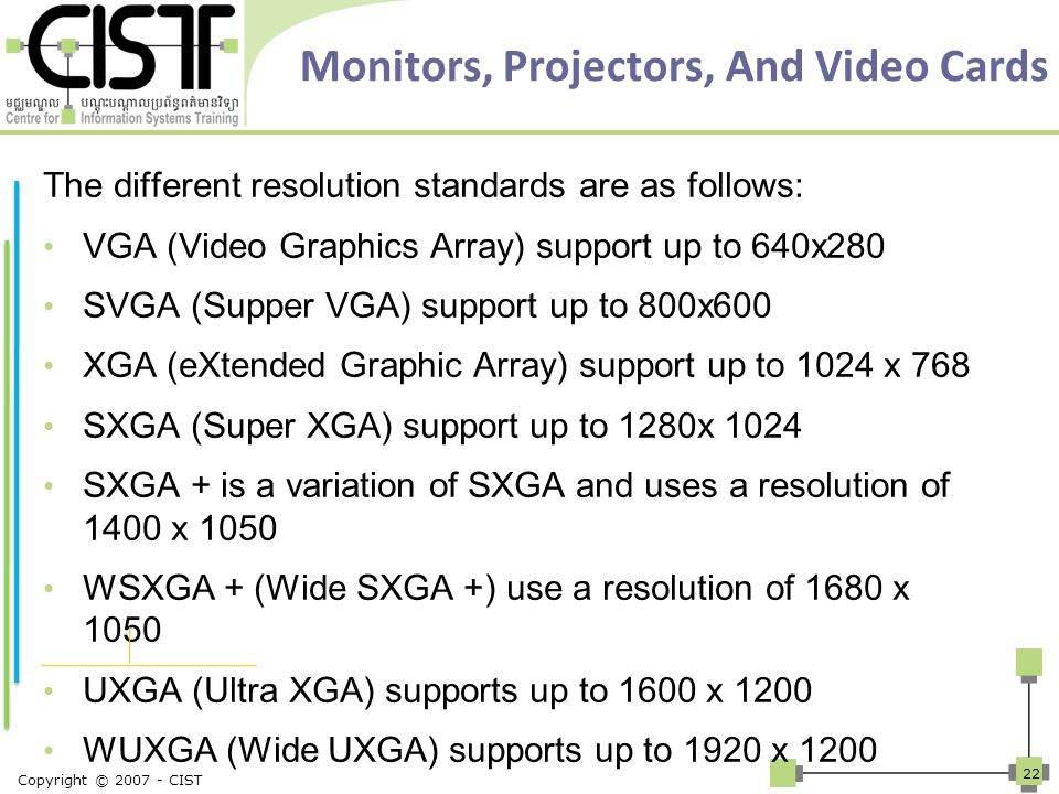 Monitors, Projectors, And Video Cards