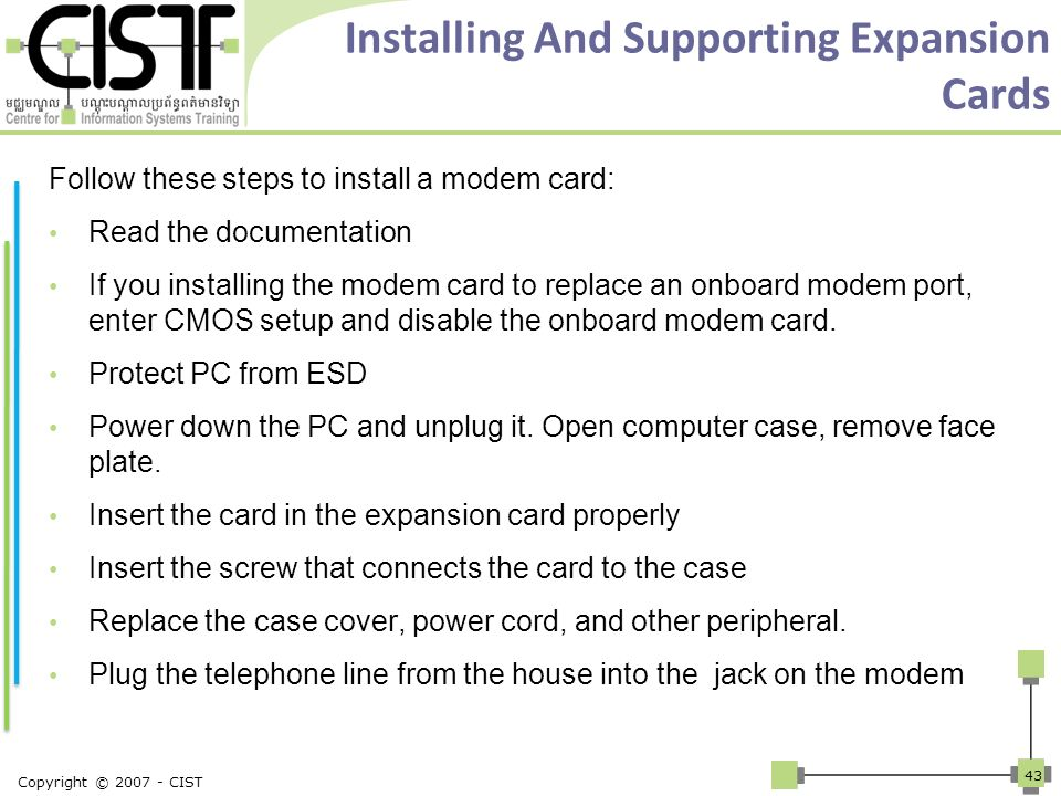 Installing And Supporting Expansion Cards