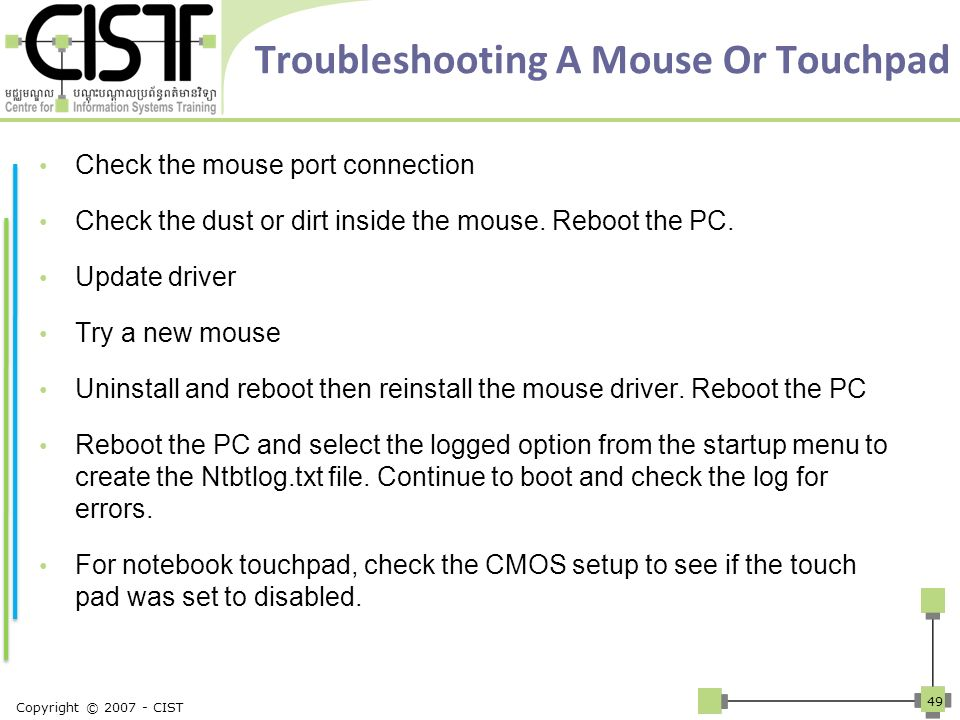 Troubleshooting A Mouse Or Touchpad