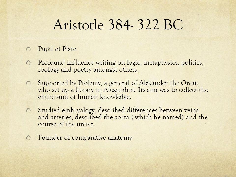 Aristotle 384- 322 BC Pupil of Plato