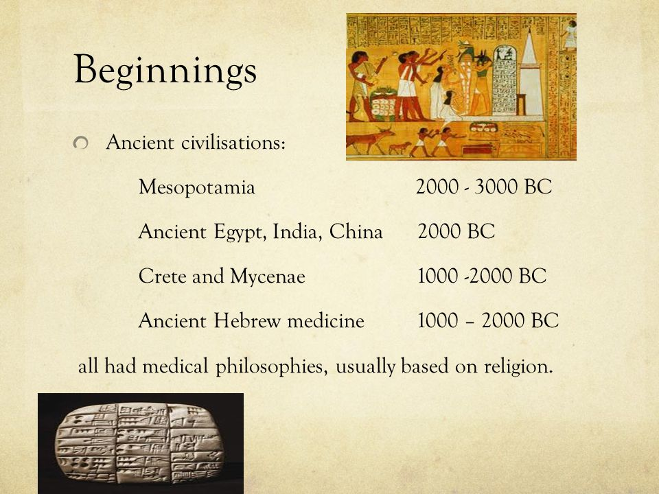 Beginnings Ancient civilisations: Mesopotamia 2000 - 3000 BC