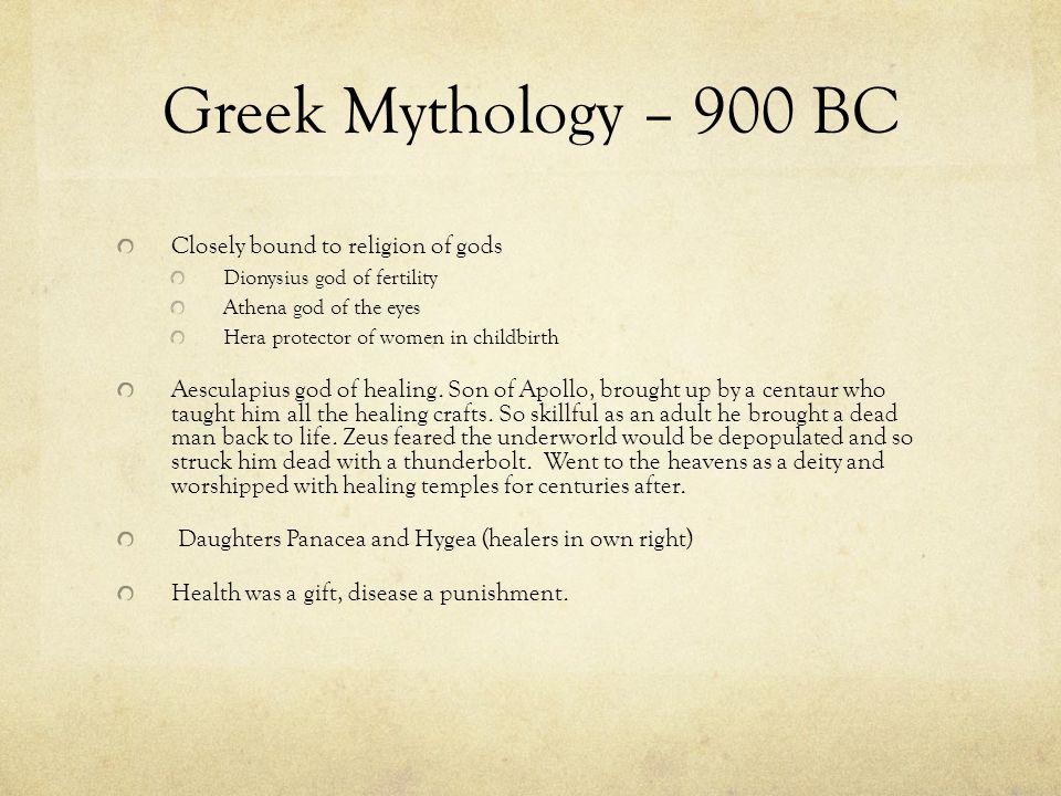 Greek Mythology – 900 BC Closely bound to religion of gods