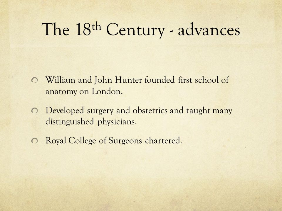 The 18th Century - advances