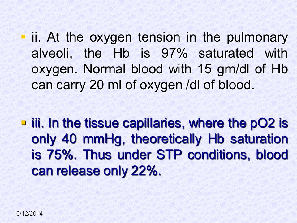 ii. At the oxygen tension in the pulmonary alveoli, the Hb is 97% saturated with oxygen. Normal blood with 15 gm/dl of Hb can carry 20 ml of oxygen /dl of blood.