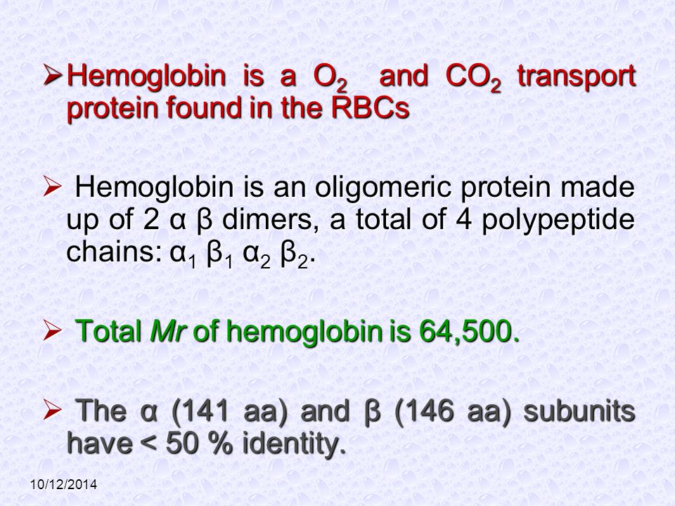 Hemoglobin is a O2 and CO2 transport protein found in the RBCs