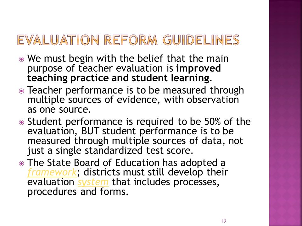 Evaluation Reform guidelines