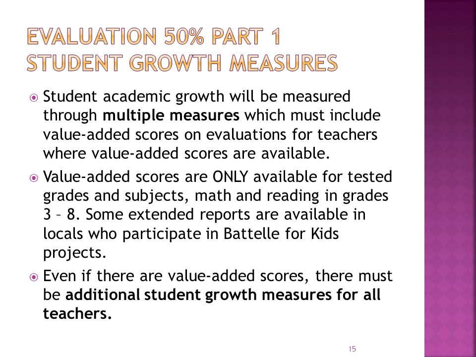 Evaluation 50% part 1 Student Growth Measures