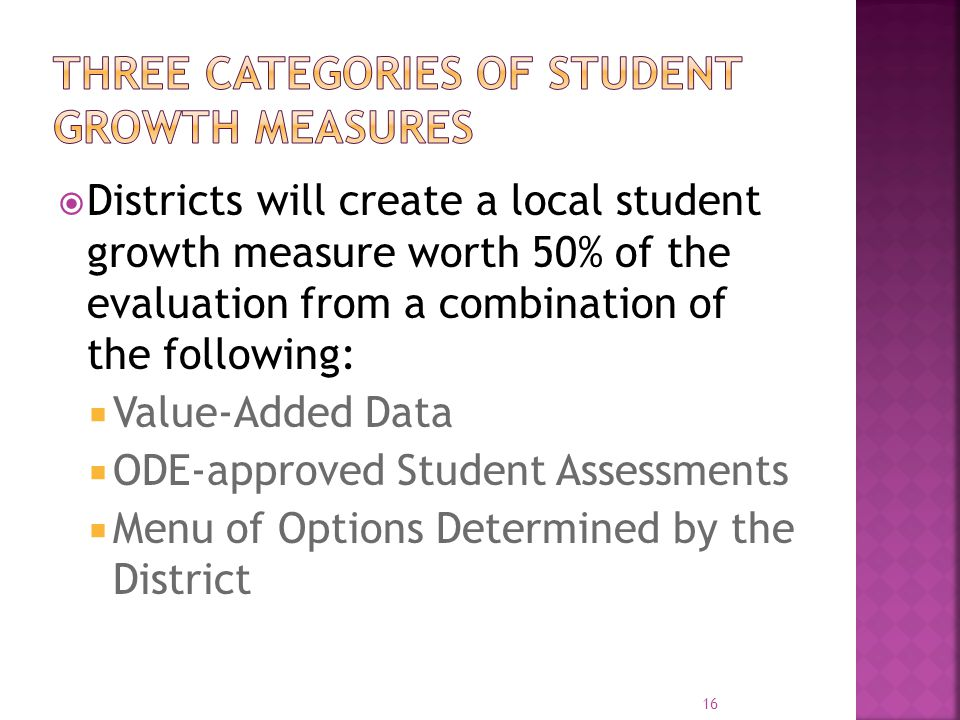 Three categories of student growth measures
