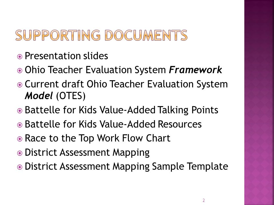 Supporting Documents Presentation slides