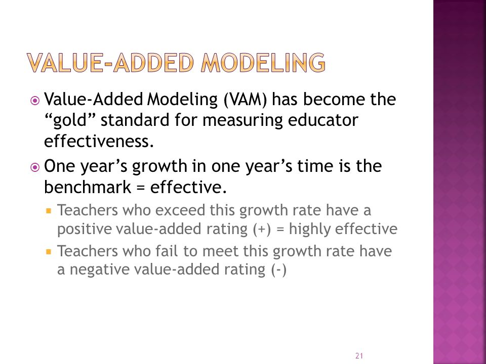 Value-Added modeling Value-Added Modeling (VAM) has become the gold standard for measuring educator effectiveness.