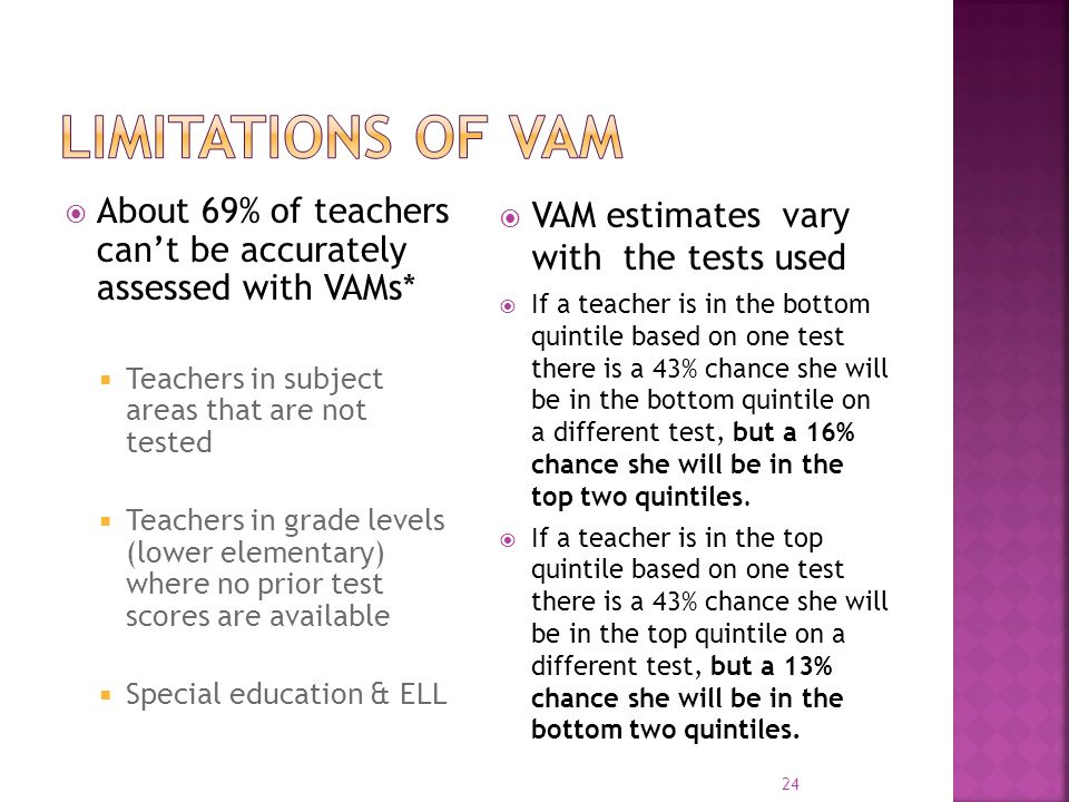Limitations of VAM About 69% of teachers can't be accurately assessed with VAMs* Teachers in subject areas that are not tested.