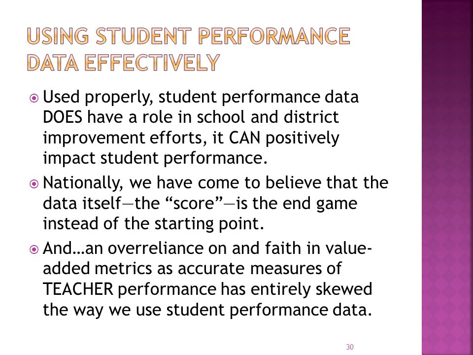 Using Student Performance data effectively