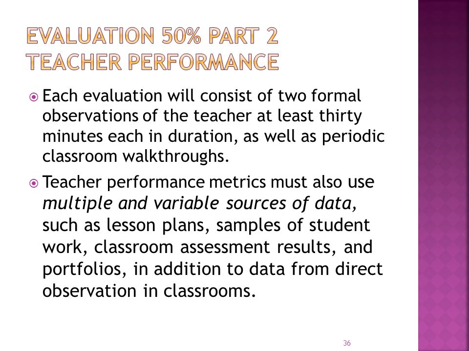 Evaluation 50% part 2 Teacher performance