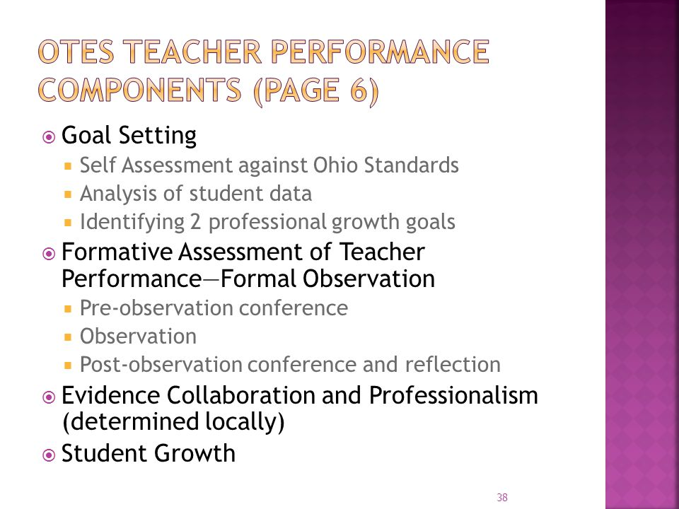 OTES Teacher performance components (page 6)