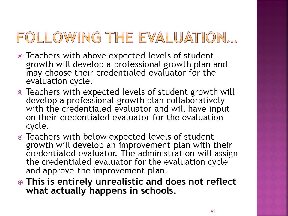 Following the Evaluation…
