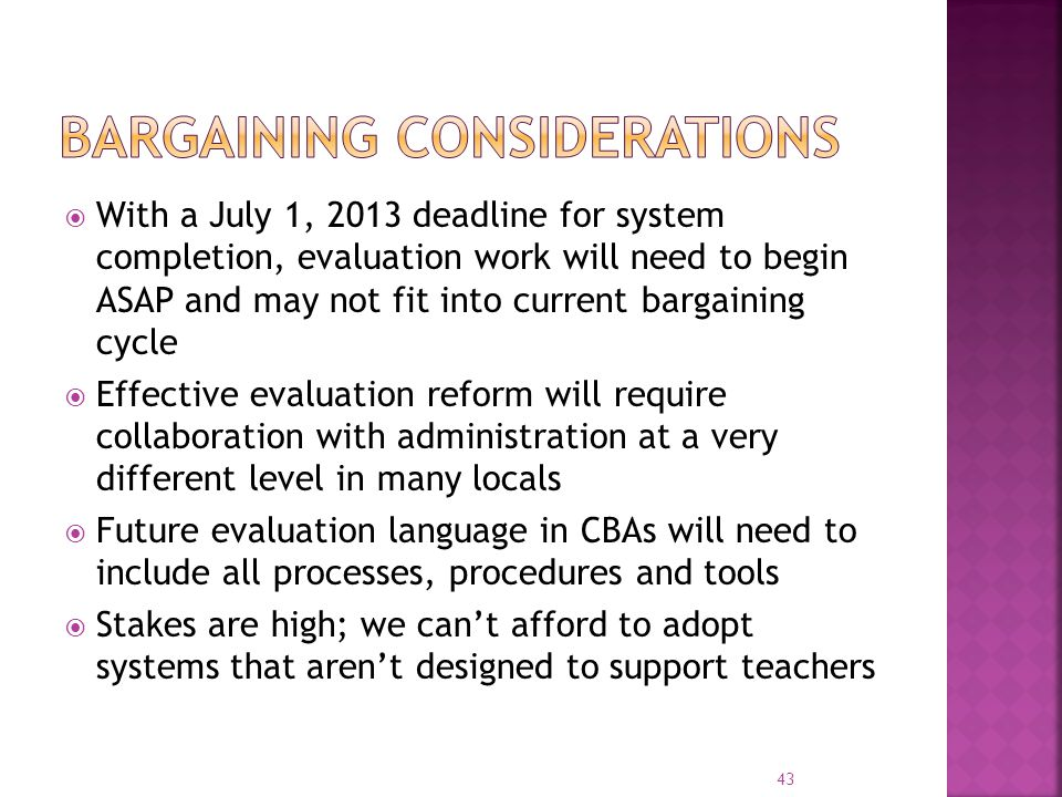 Bargaining considerations
