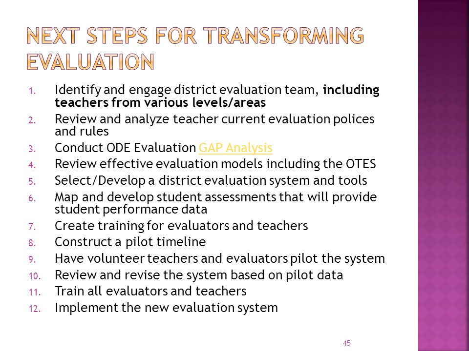 Next Steps for transforming evaluation