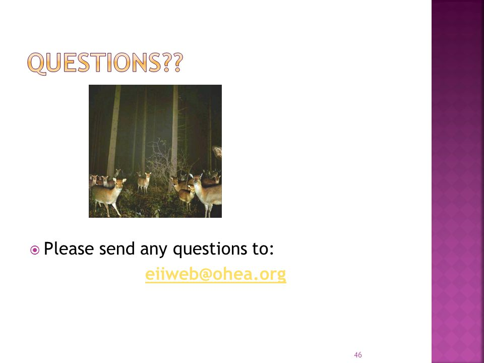 Questions Please send any questions to: eiiweb@ohea.org