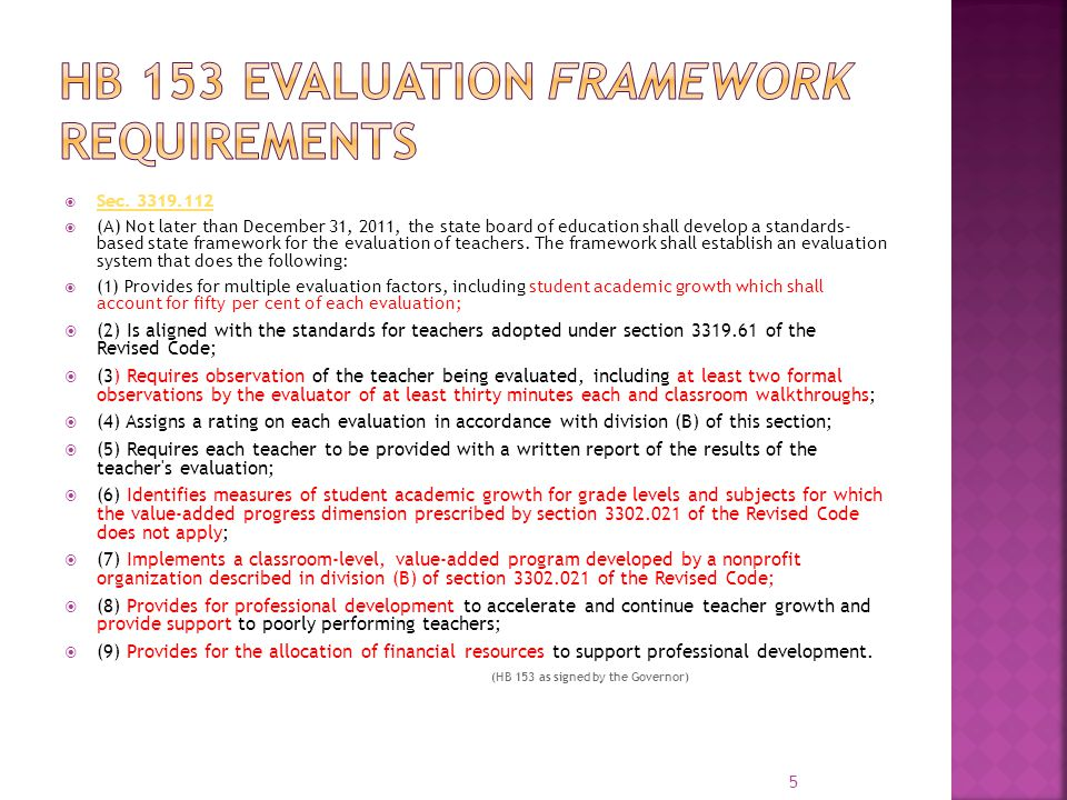 HB 153 Evaluation Framework requirements