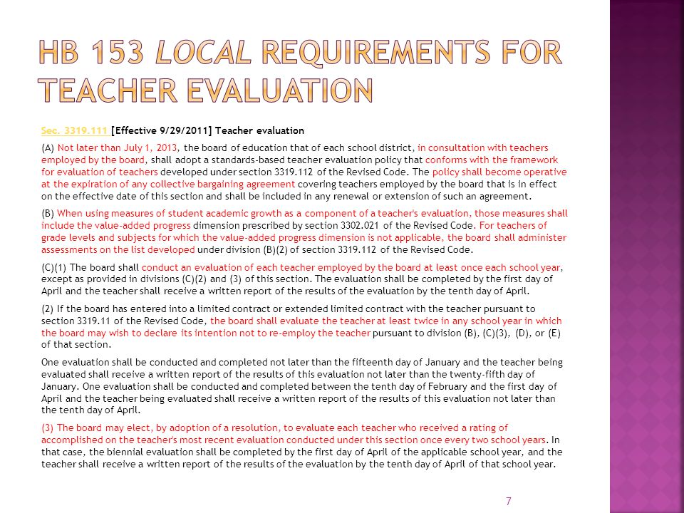 HB 153 Local Requirements for Teacher Evaluation