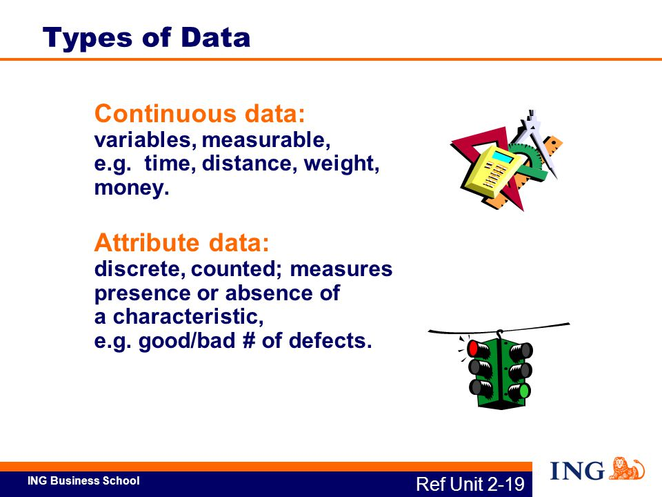 Types of Data Continuous data: variables, measurable, e.g. time, distance, weight, money.