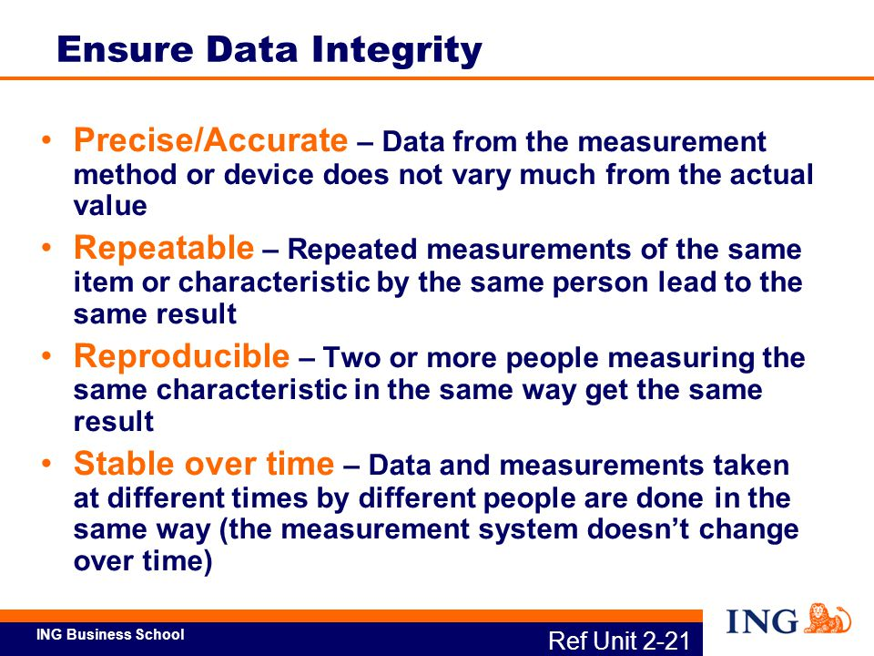 Ensure Data Integrity Precise/Accurate – Data from the measurement method or device does not vary much from the actual value.