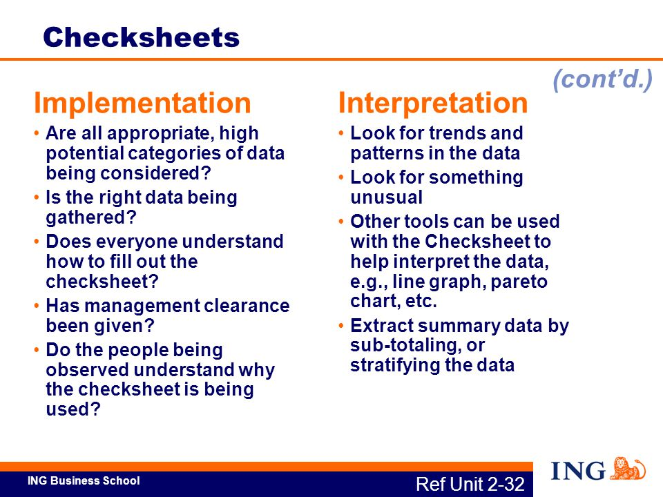 Implementation Interpretation Checksheets (cont'd.)