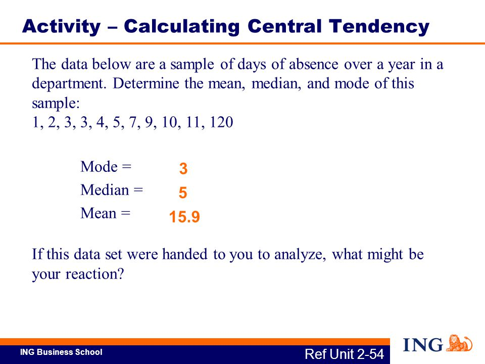Activity – Calculating Central Tendency