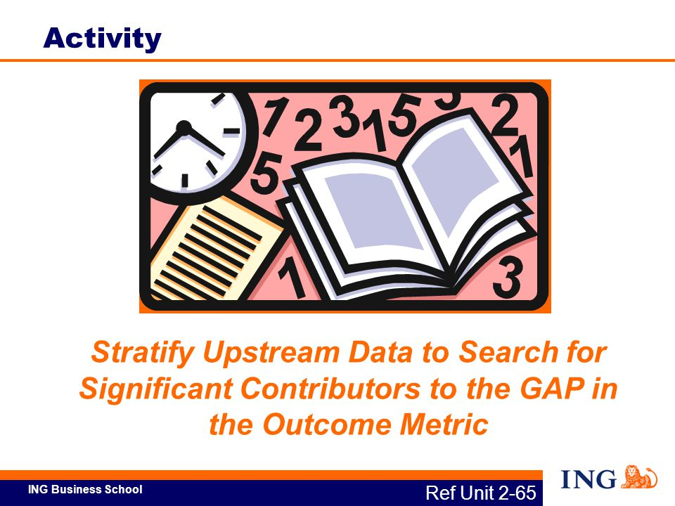 Activity Stratify Upstream Data to Search for Significant Contributors to the GAP in the Outcome Metric.