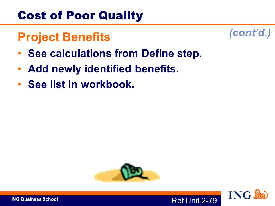 Project Benefits Cost of Poor Quality (cont'd.)
