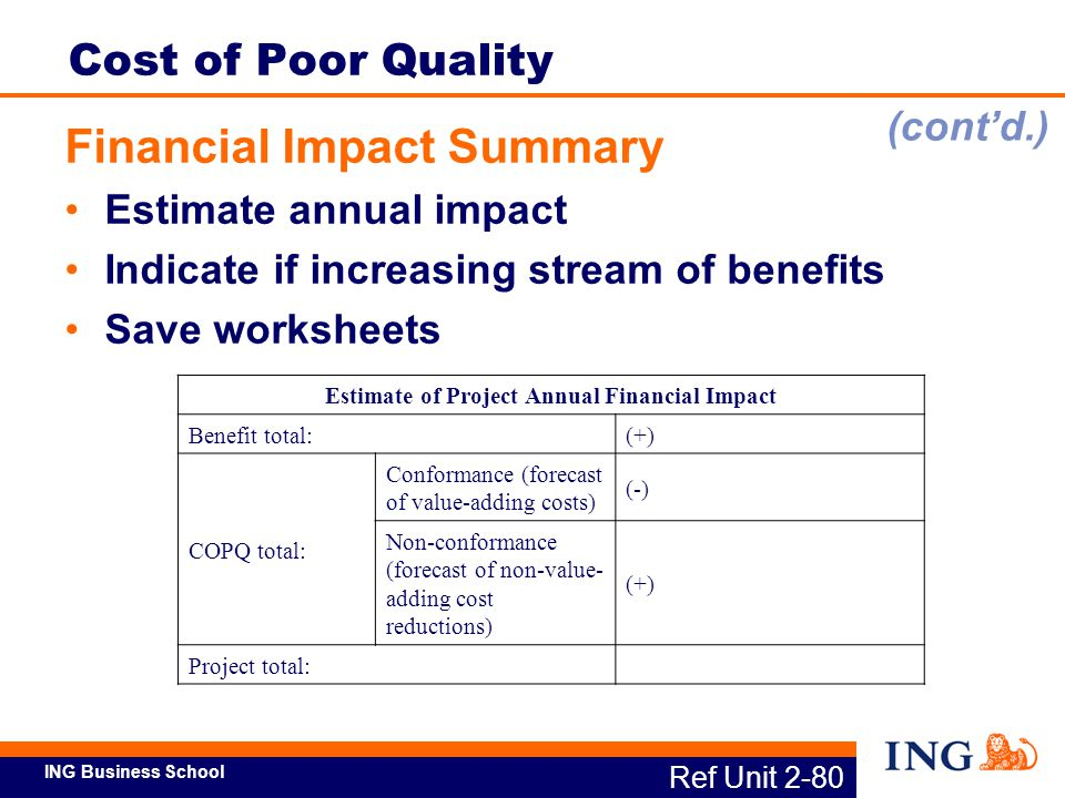 Estimate of Project Annual Financial Impact