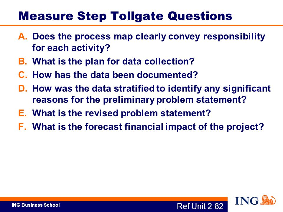 Measure Step Tollgate Questions