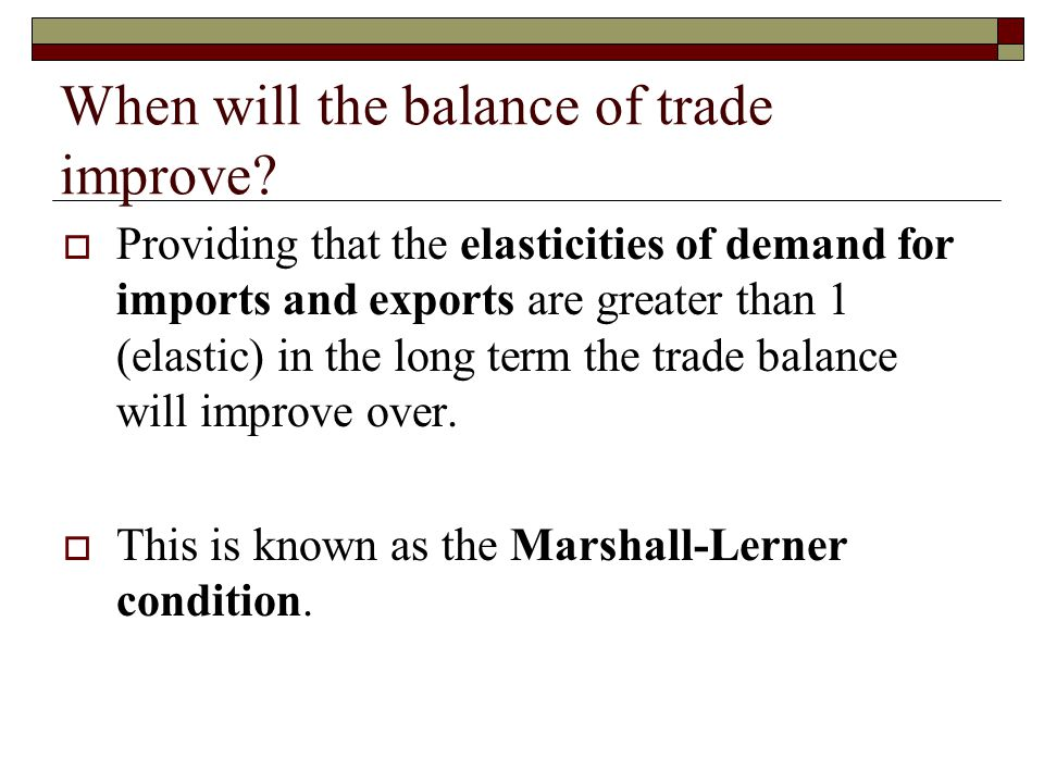 When will the balance of trade improve