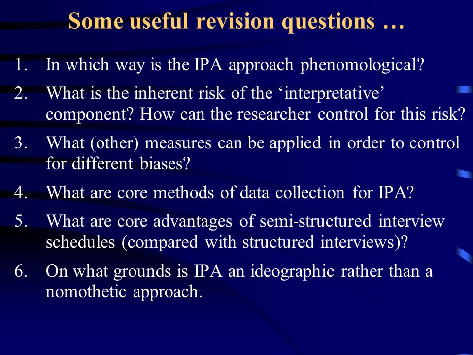 Some useful revision questions …