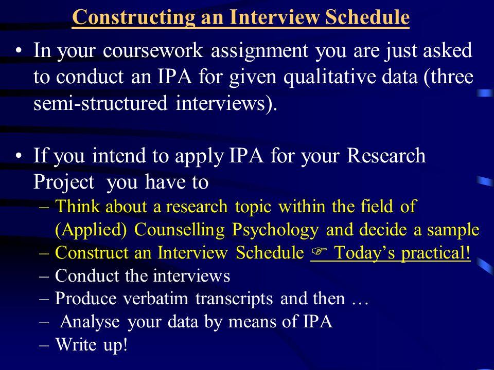 Constructing an Interview Schedule