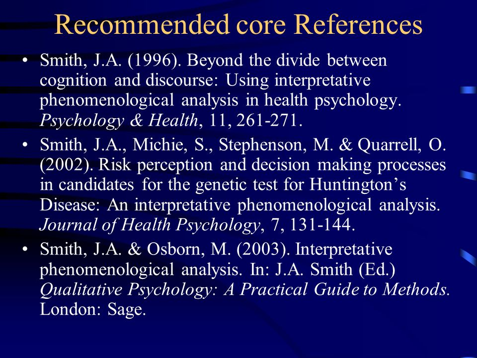 Recommended core References
