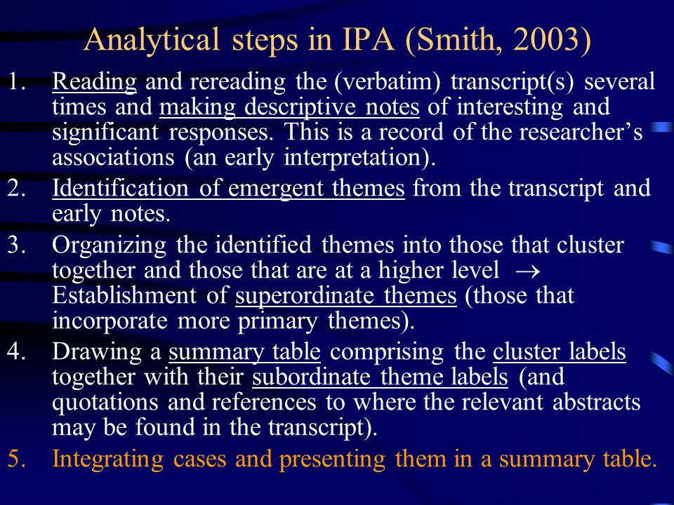 Analytical steps in IPA (Smith, 2003)