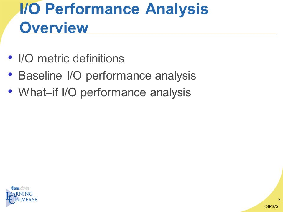 I/O Performance Analysis Overview