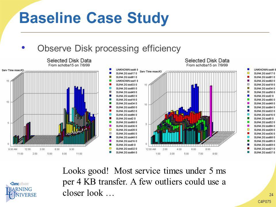 Baseline Case Study Observe Disk processing efficiency